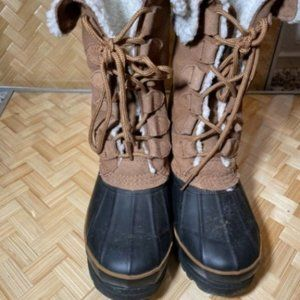 Bass Womens Leather Faux Fur Winter Duck Boots 7